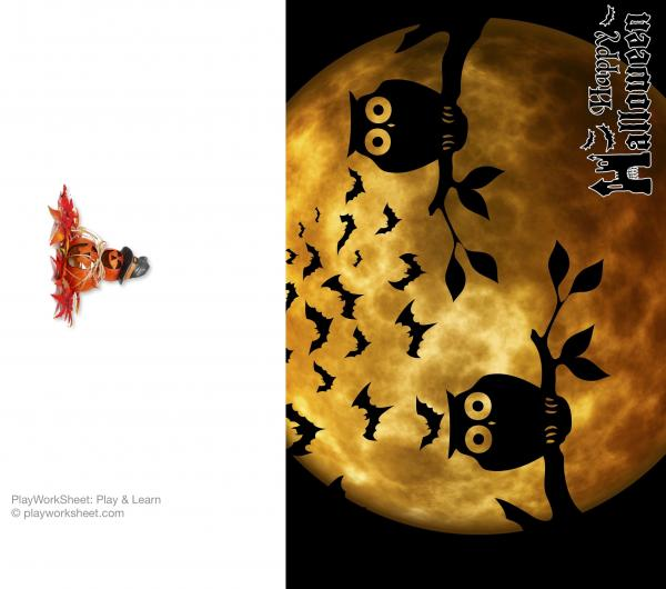 Happy Halloween card featuring moon, owls and bats