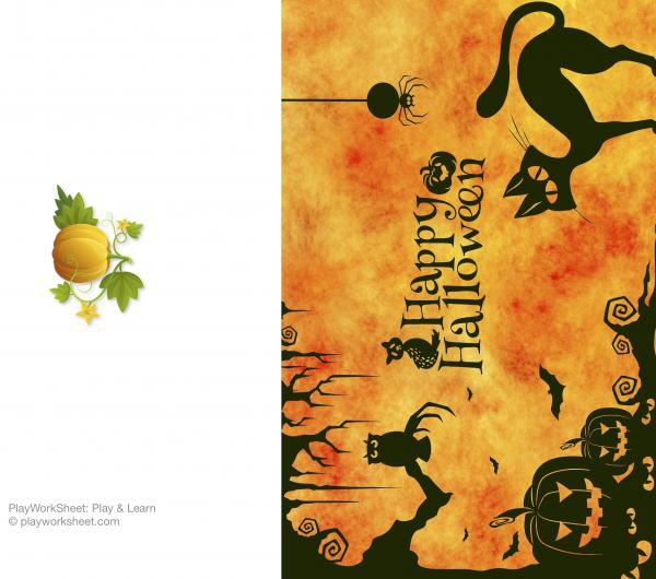 Happy Halloween card featuring owl, black cat, spider, bats and pumpkins