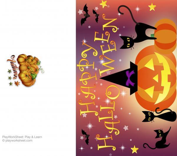 Happy Halloween card featuring pumpkins, black cats, bats and stars
