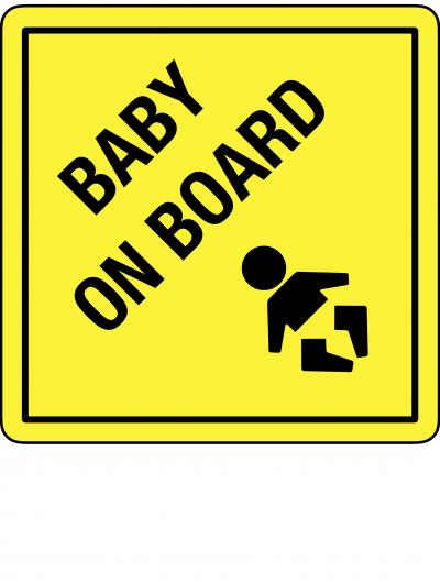 BABY ON BOARD Yellow Warning Sign