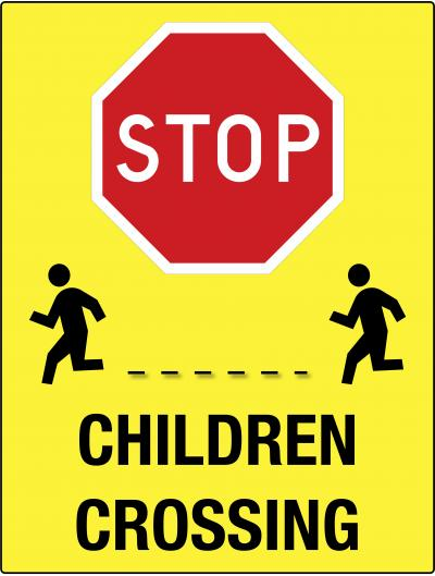 STOP - CHILDREN CROSSING Yellow Safety Sign