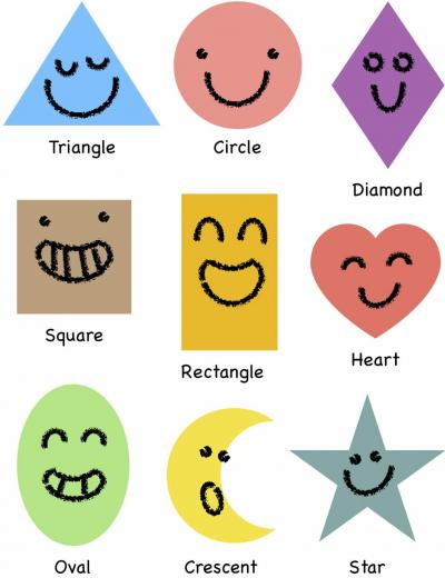 Shapes with Happy Faces