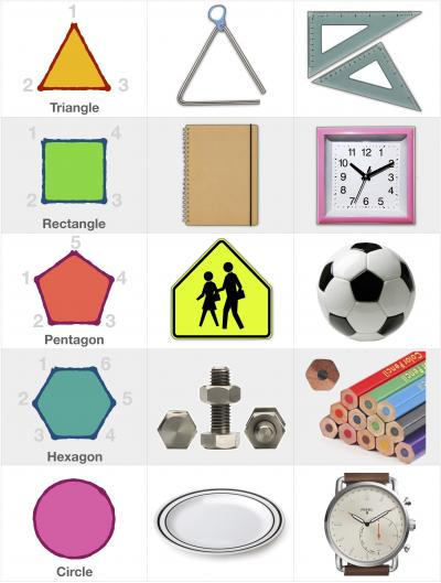 Shapes: Triangle, Rectangle, Pentagon, Hexagon and Circle