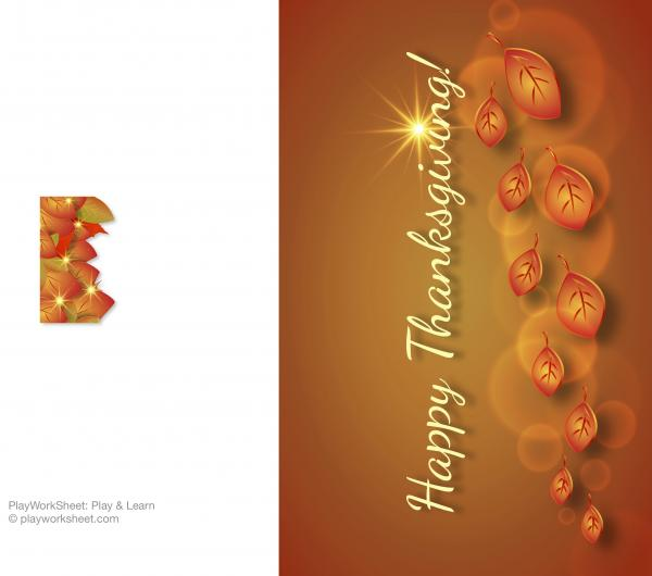 Happy Thanksgiving card featuring golden leaves and sparkling star.