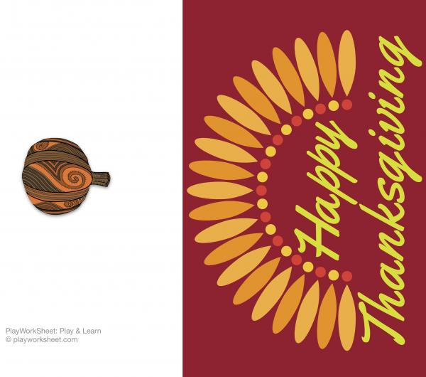Happy Thanksgiving card featuring simple turkey feathers.