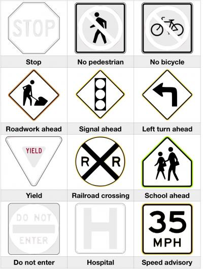 Road Safety Signs Coloring for Kids