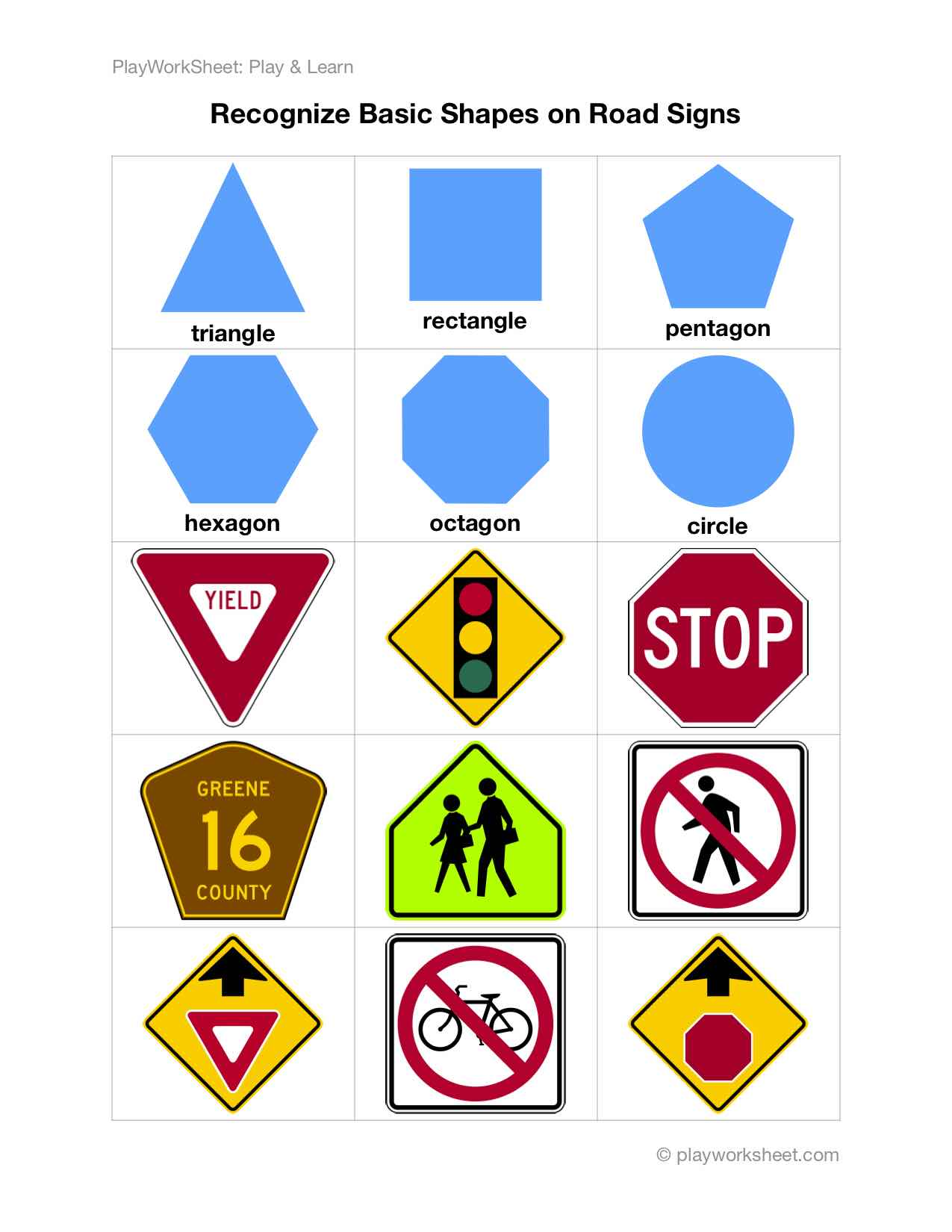 Recognize Basic Shapes On Road Traffic Signs Free Printable Worksheets For Kids