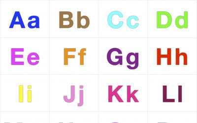Colorful alphabet letters from A to Z in both upper and lower cases