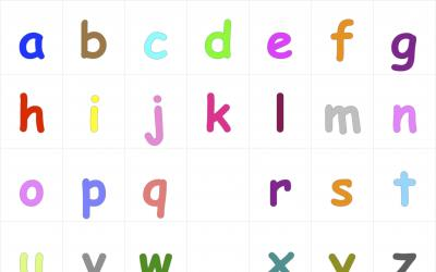 Colorful alphabet letters from a to z in lower cases