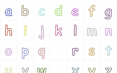 Outlines of alphabet letters from a to z in lower cases
