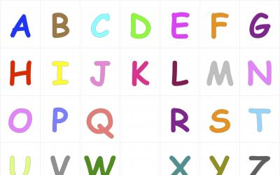 Colorful alphabet letters from a to z in upper cases