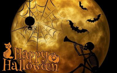 Happy Halloween card featuring moon, skeleton, spider and bats