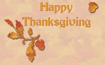 Happy Thanksgiving card featuring oak leaves and acrons.
