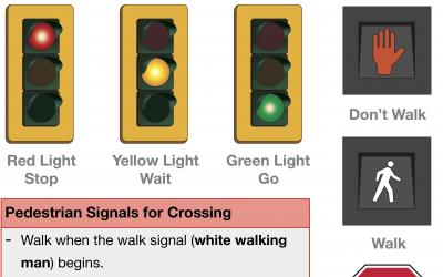 Traffic Light, Pedestrians Signals and Stop Signs for Crossing
